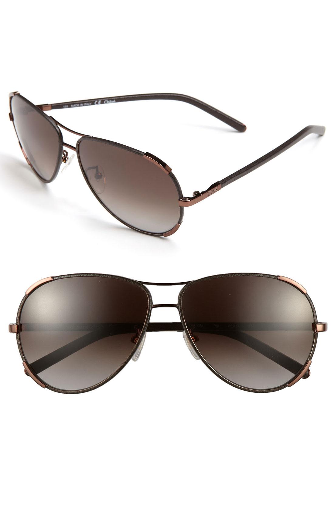 Chlo 233 60mm Aviator Sunglasses Bronze In Brown Bronze