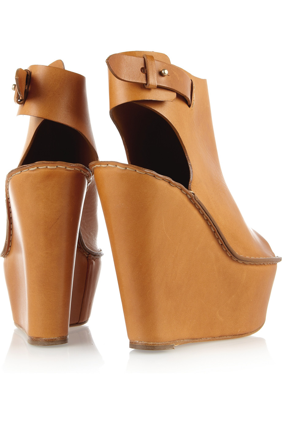 e0a6b00ddf2 Chloé Peep-toe Leather Wedges in Brown - Lyst