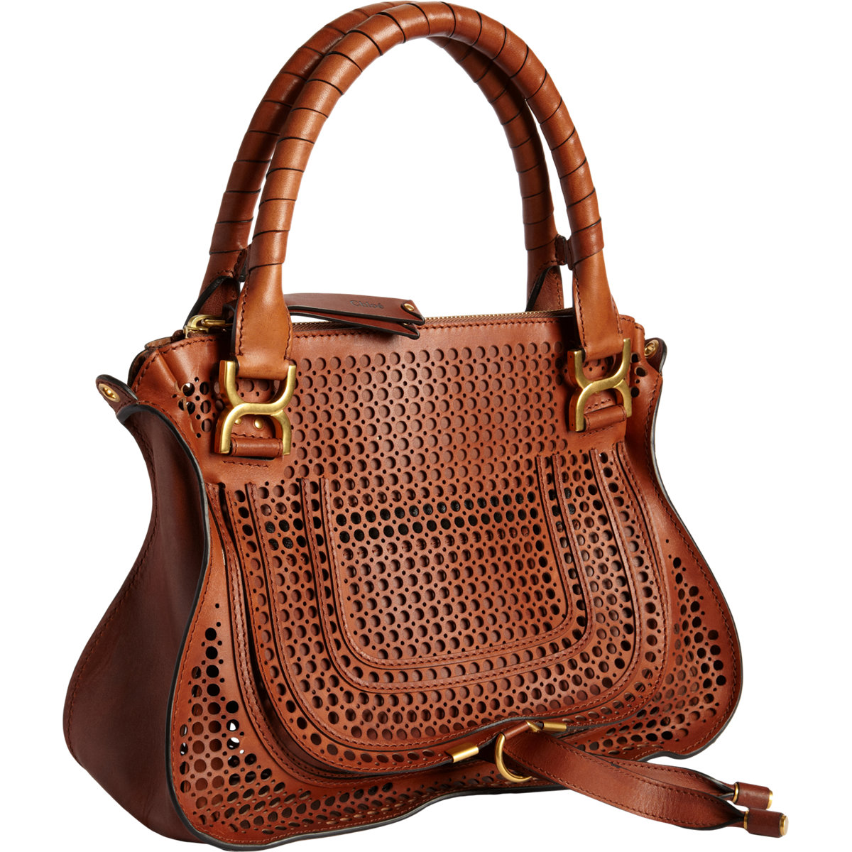 ed19ee3b615 Chloé Perforated Marcie Medium Satchel with Strap in Brown - Lyst