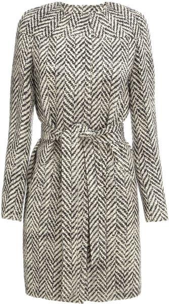 Commuun Herringbone Wool Coat in Gray (black)