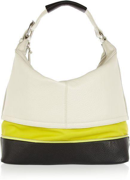 Diane Von Furstenberg Mandy Texturedleather Shoulder Bag in White - Lyst