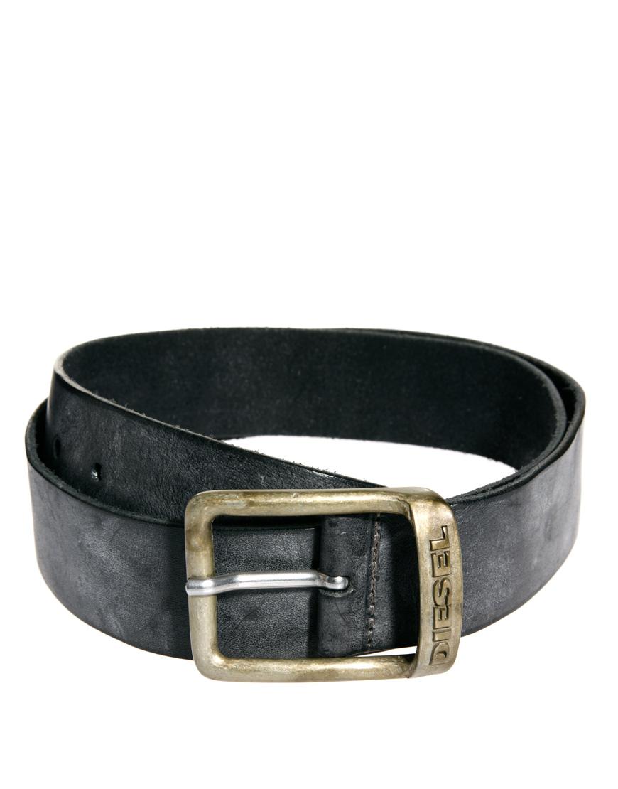 diesel leather belt in black for lyst