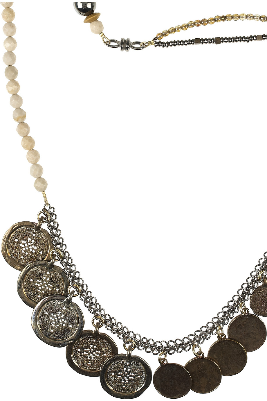 Erickson Beamon Tribute 22karat Goldplated Coin Necklace in Silver (Black)