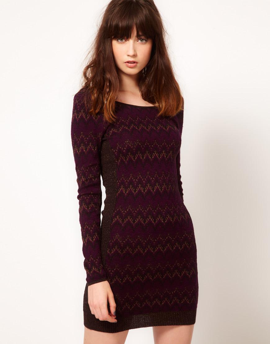 Lyst Free People Fair Isle Knitted Dress In Metallic