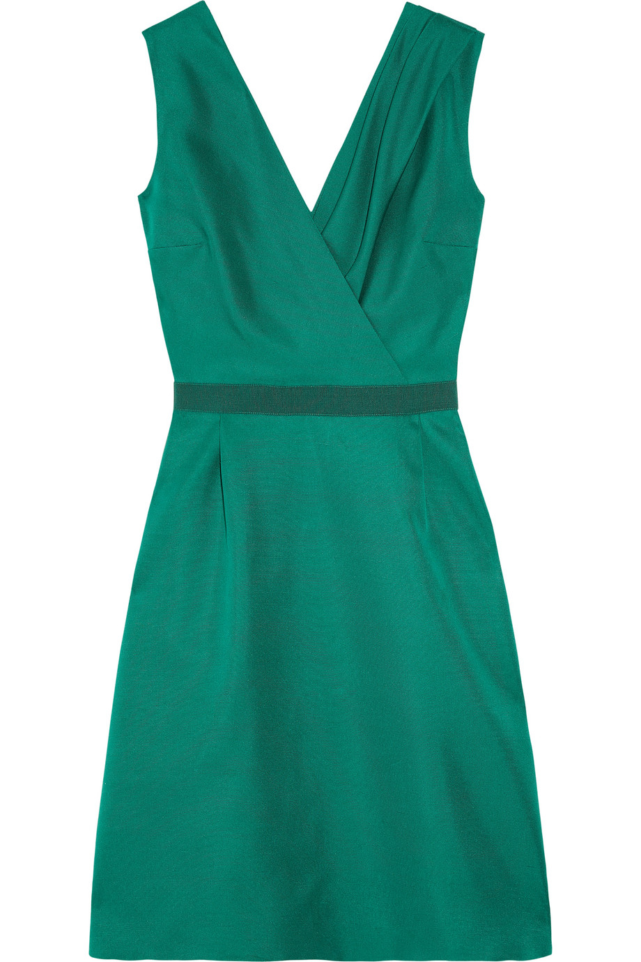 Giambattista Valli Silk Shantung Wrap Effect Dress In Teal