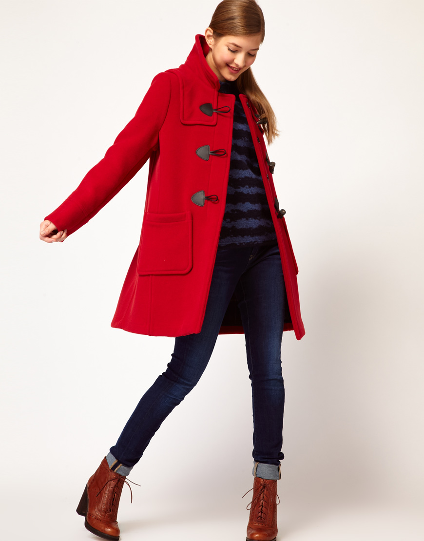 Gloverall Swing Duffle Coat in Check Back Wool with Leather and ...