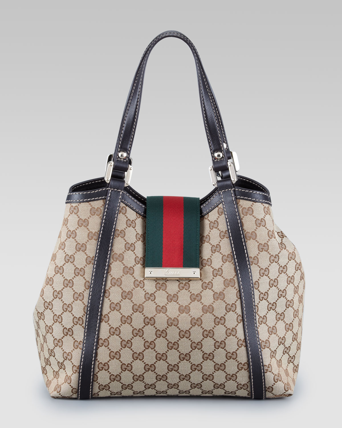 gucci new web gg tote bag large in green