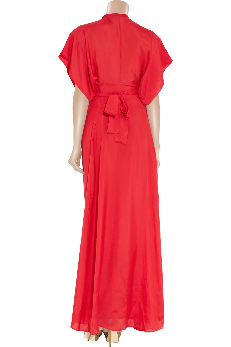 Lyst Issa Silk Satin Kimono Maxi Dress In Red