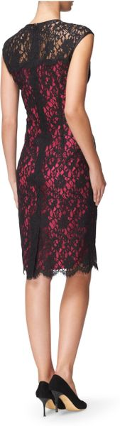 Jaeger Lace Overlay Dress with Pink Lining in Black | Lyst