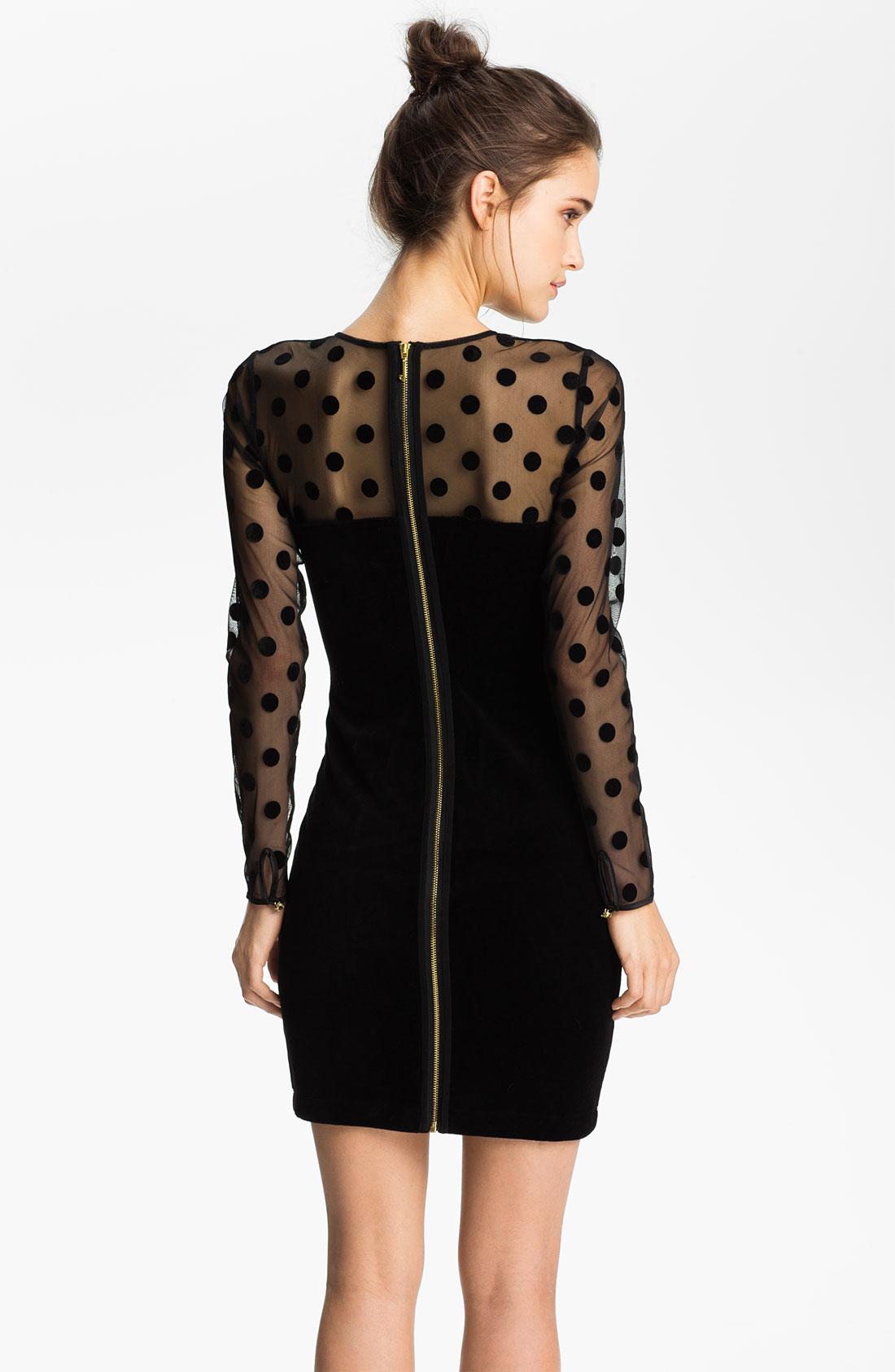 Juicy couture Sheer Polka Dot Velvet Dress in Black