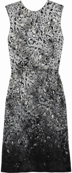 Lanvin Printed Silk-Blend Satin Dress in Gray (multicolored) - Lyst