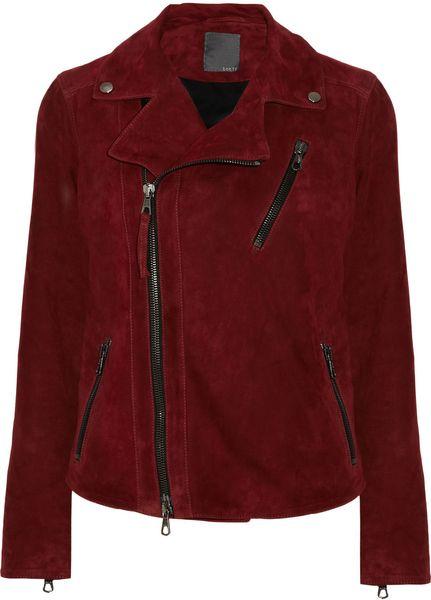 Lot78 Zoe Suede Biker Jacket in Red (merlot)