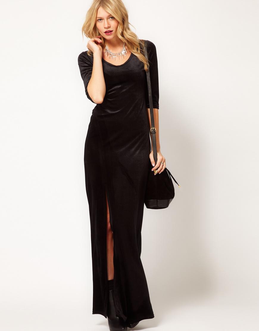 Lyst Love Velvet Maxi Dress With Thigh Split In Black