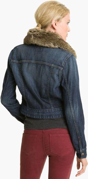 Lucky Brand Faux Fur Collar Denim Jacket In Blue Dark