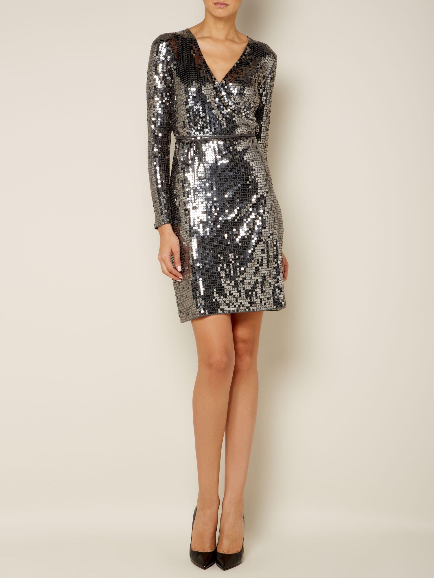 Michael Michael Kors Herringbone Dress In Silver Nearly