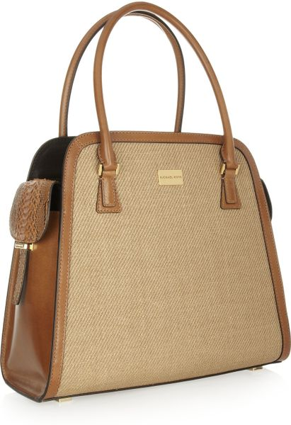 Discount Code For Michael Kors Gia Totes - Bags Michael Kors Gia Woven Raffia Python And Leather Tote Camel