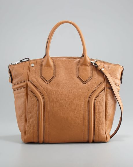 Milly Zoey Leather Tote Bag Luggage in Brown - Lyst