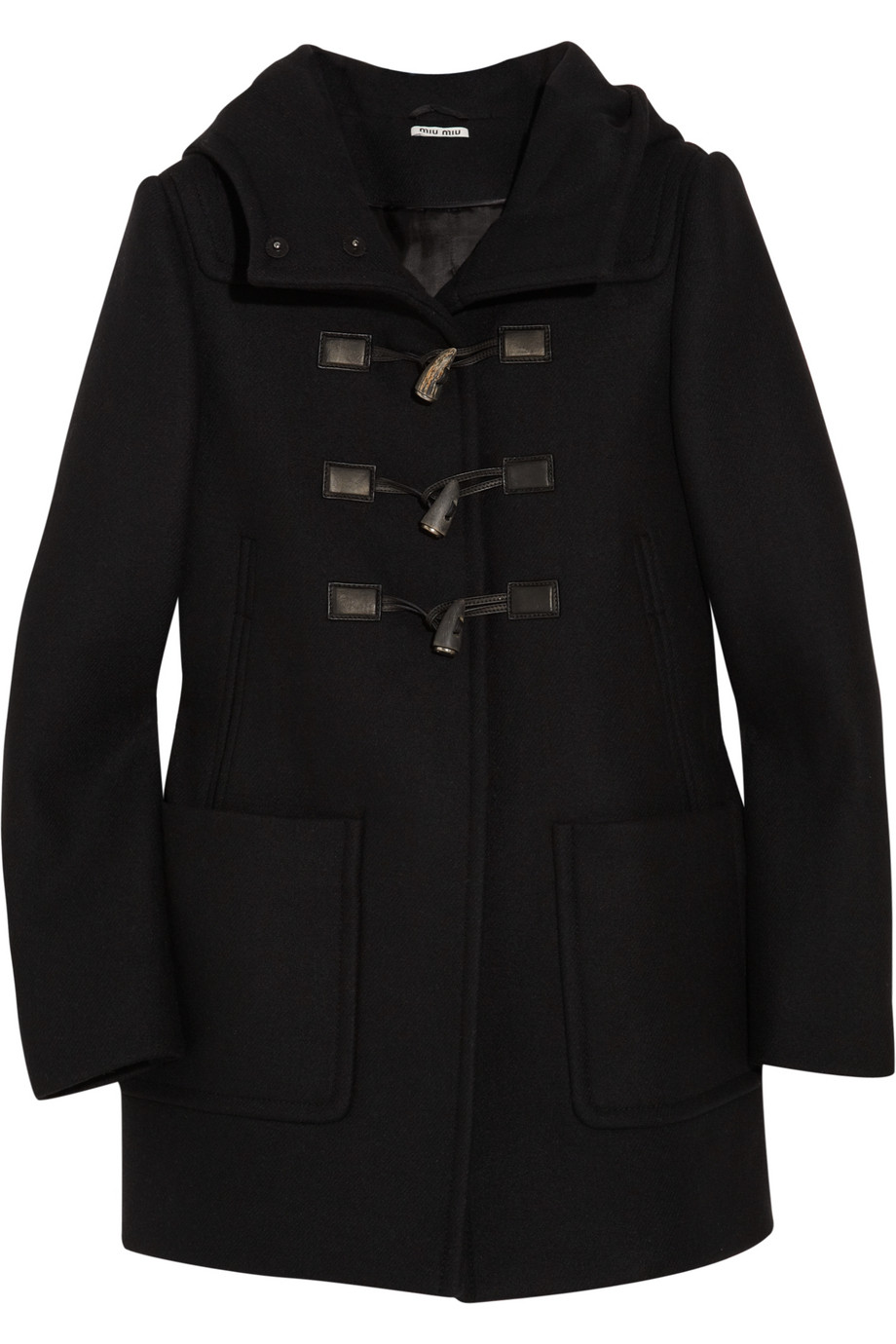 Miu miu Hooded Wool Duffle Coat in Black | Lyst