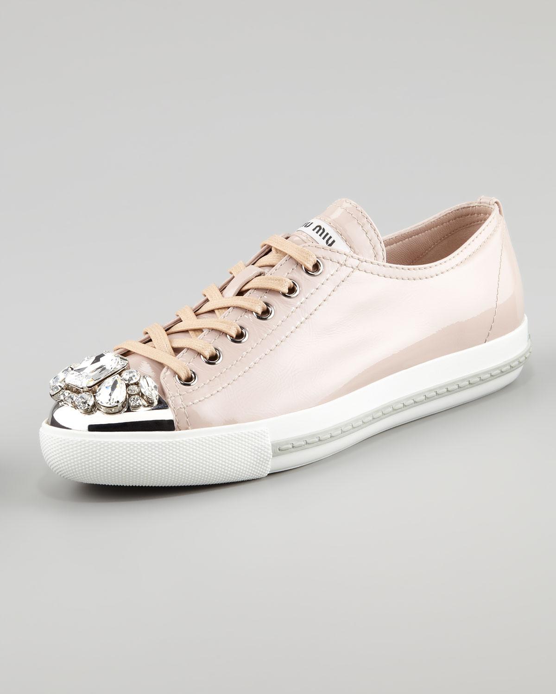 Miu Miu Jeweled Captoe Platform Sneakers 4shRxt