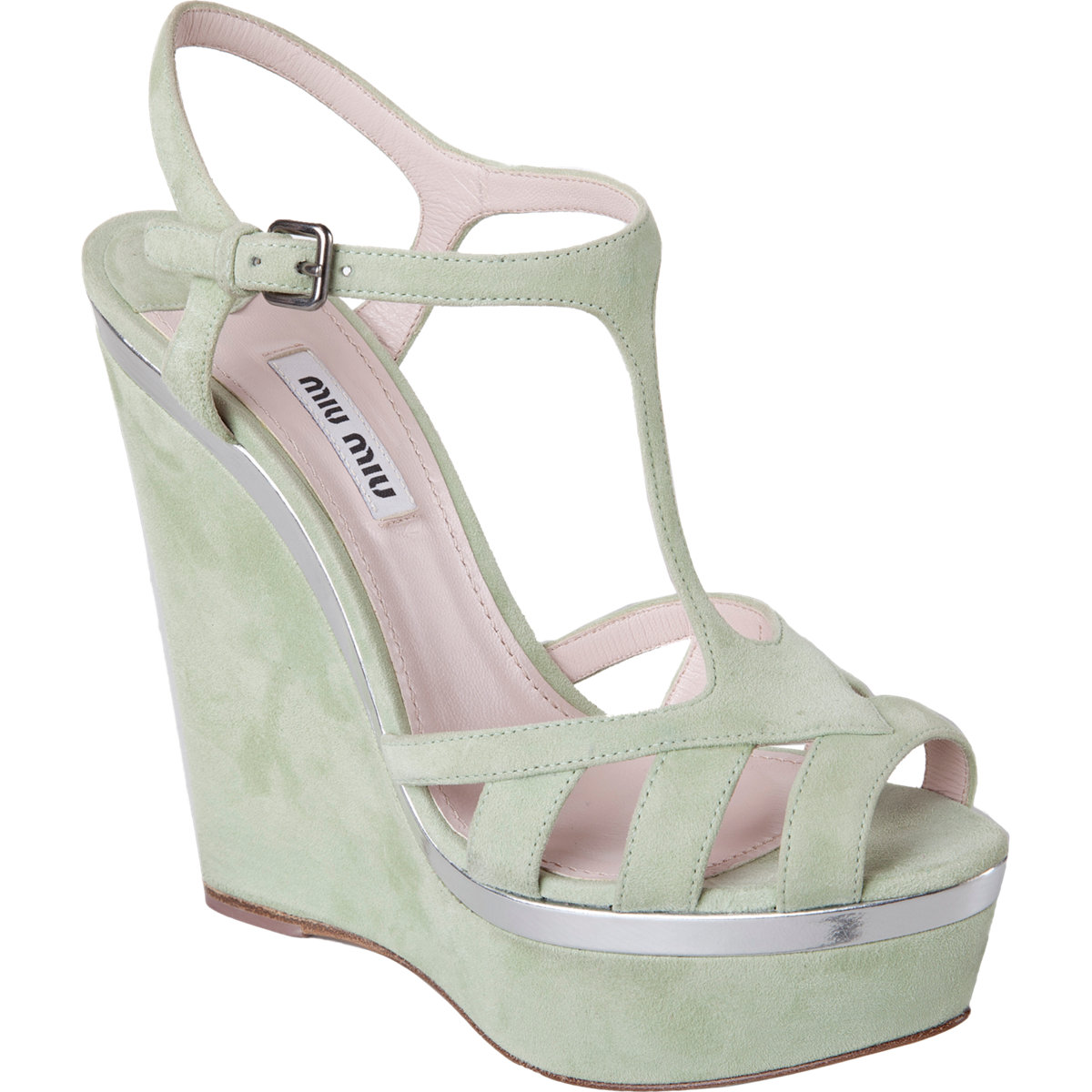 8c929d3217e9 Shoeniverse  MIU MIU Mint   Silver Tstrap Platform Wedge Sandal