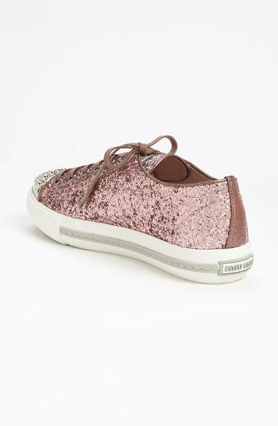 miu miu glitter cap toe sneaker in pink lyst. Black Bedroom Furniture Sets. Home Design Ideas