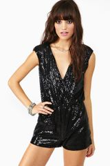 Nasty Gal Sequin Wrap Romper