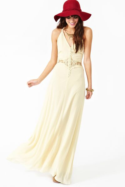 Nasty Gal Siobhan Maxi Dress  in Beige (cream)