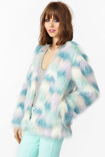 Nasty Gal Fantasy Faux Fur Coat In Multicolor Mint Lyst