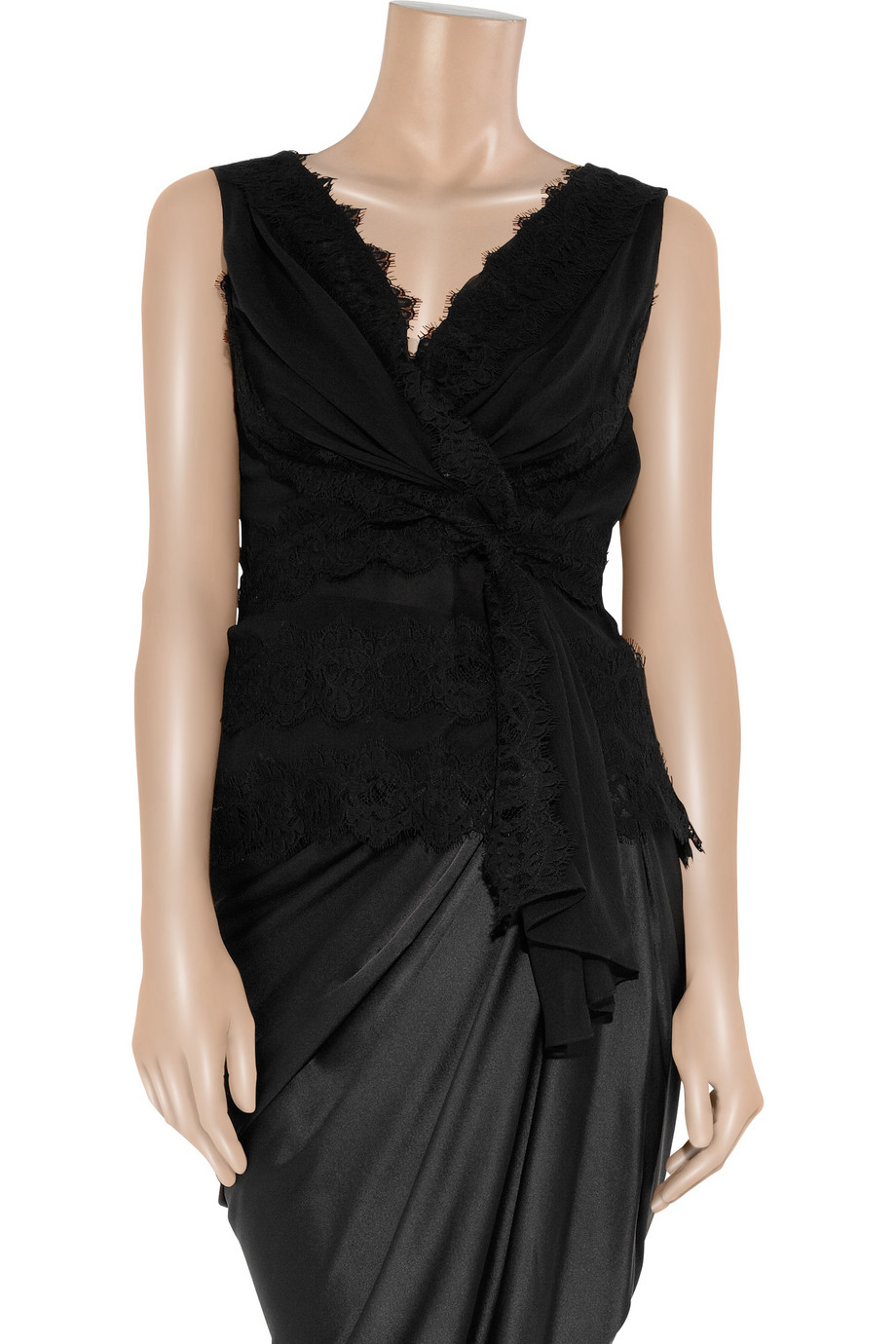 Lyst Oscar De La Renta Silk Chiffon And Lace Top In Black