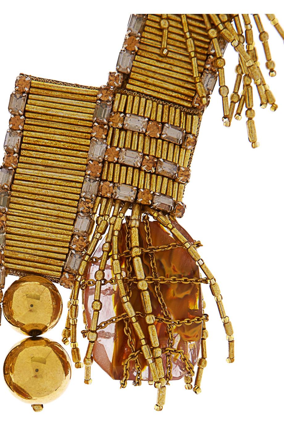 Oscar de la Renta Bead Embellished Metal Necklace in Gold (Metallic)