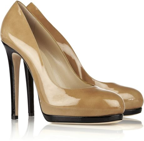 Oscar De La Renta Twotone Patentleather Pumps in Beige (sand)