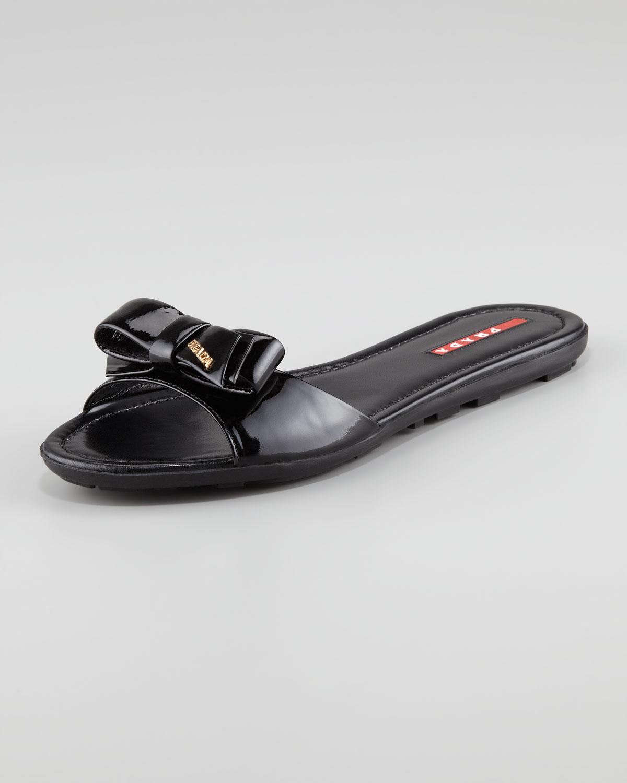 Prada Patent Leather Logo Bow Slide Sandal Black In Black
