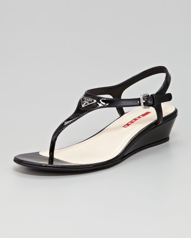 Prada Patent Logo Demi Wedge Sandal in