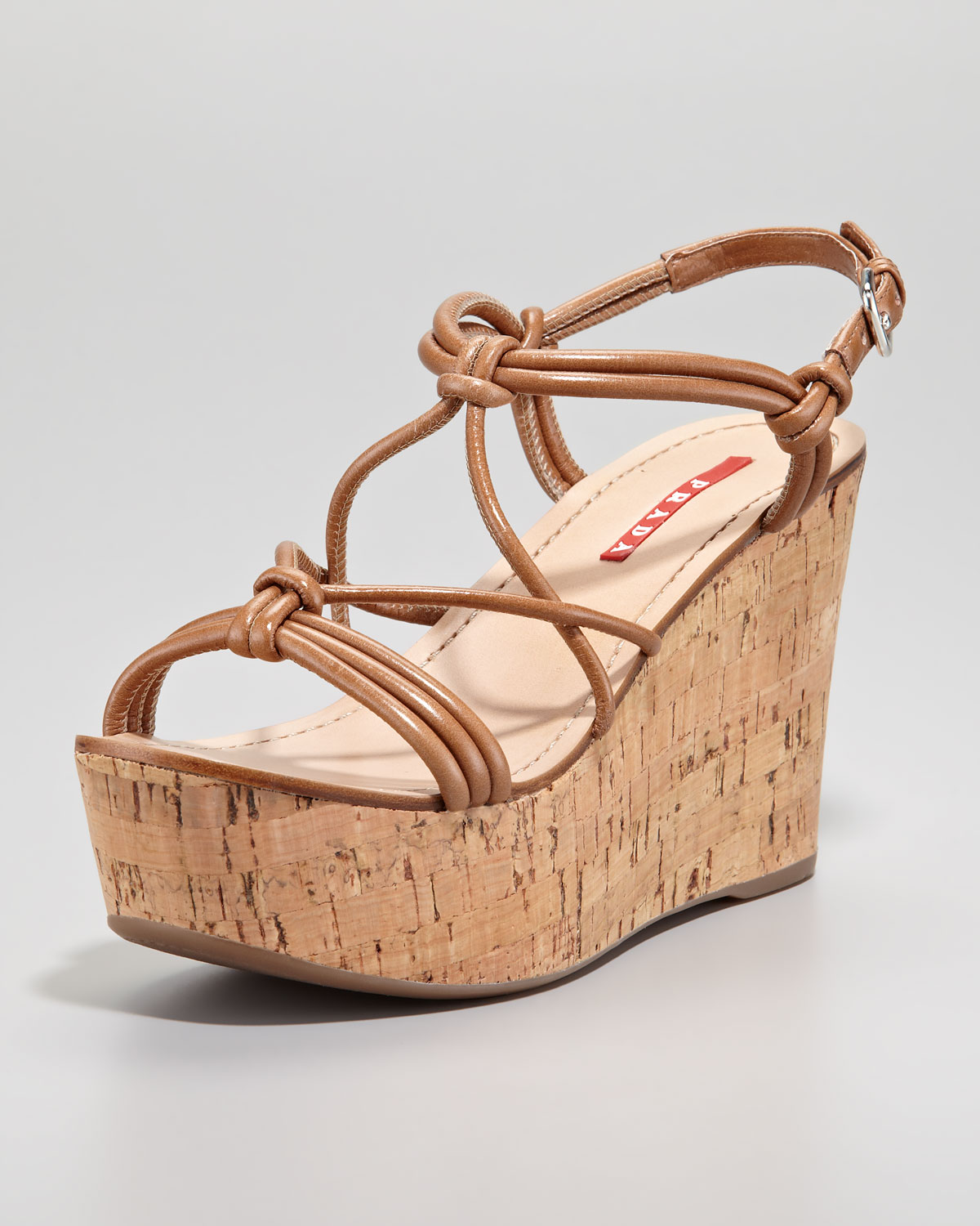 Prada Strappy Knot Cork Wedge Sandal Cannella In Brown Lyst