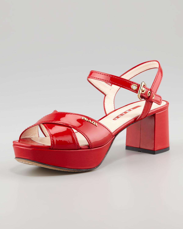 ca652b9a41e Lyst - Prada Patent Crisscross Platform Sandal in Red