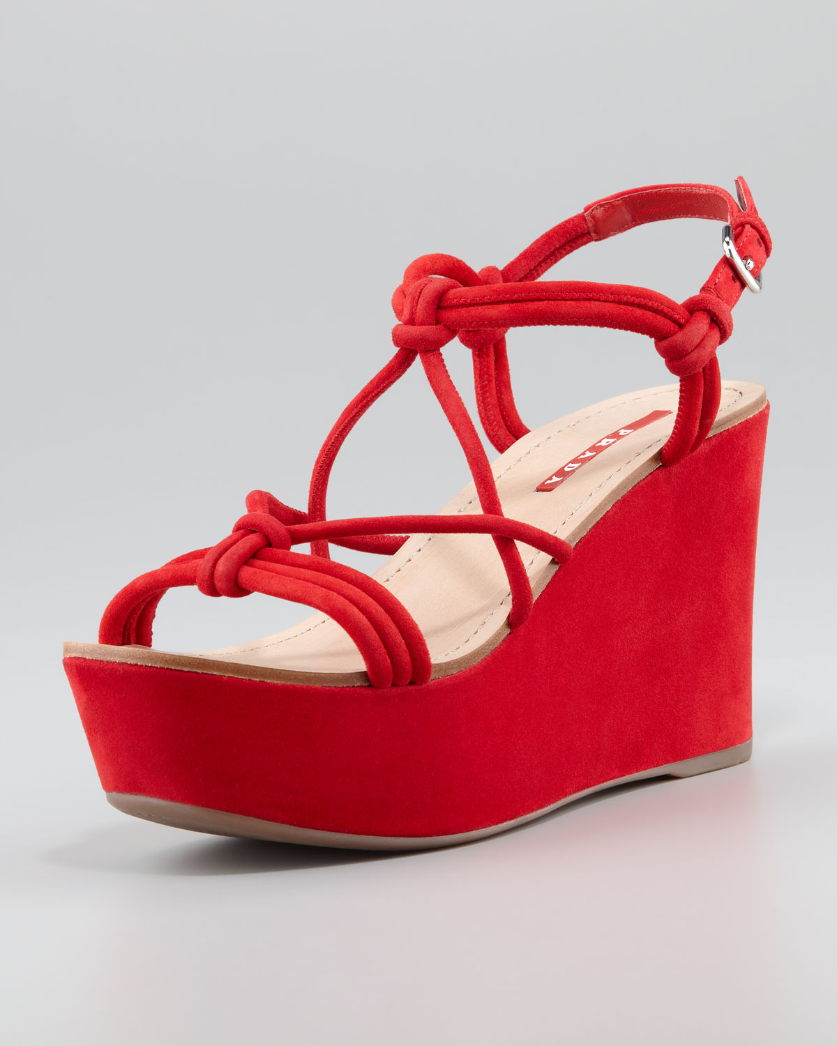 1925a9abe8b Lyst - Prada Suede Strappy Knot Wedge Sandal in Red
