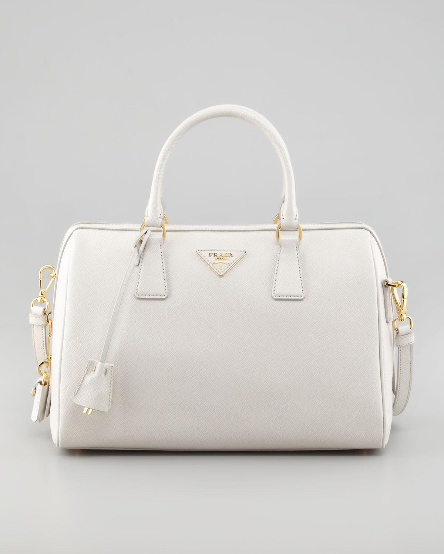 Prada Saffiano Lux Satchel Bag Talco in White (talco) | Lyst