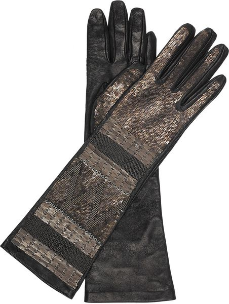 Roberto Cavalli Embellished Leather Gloves in Silver