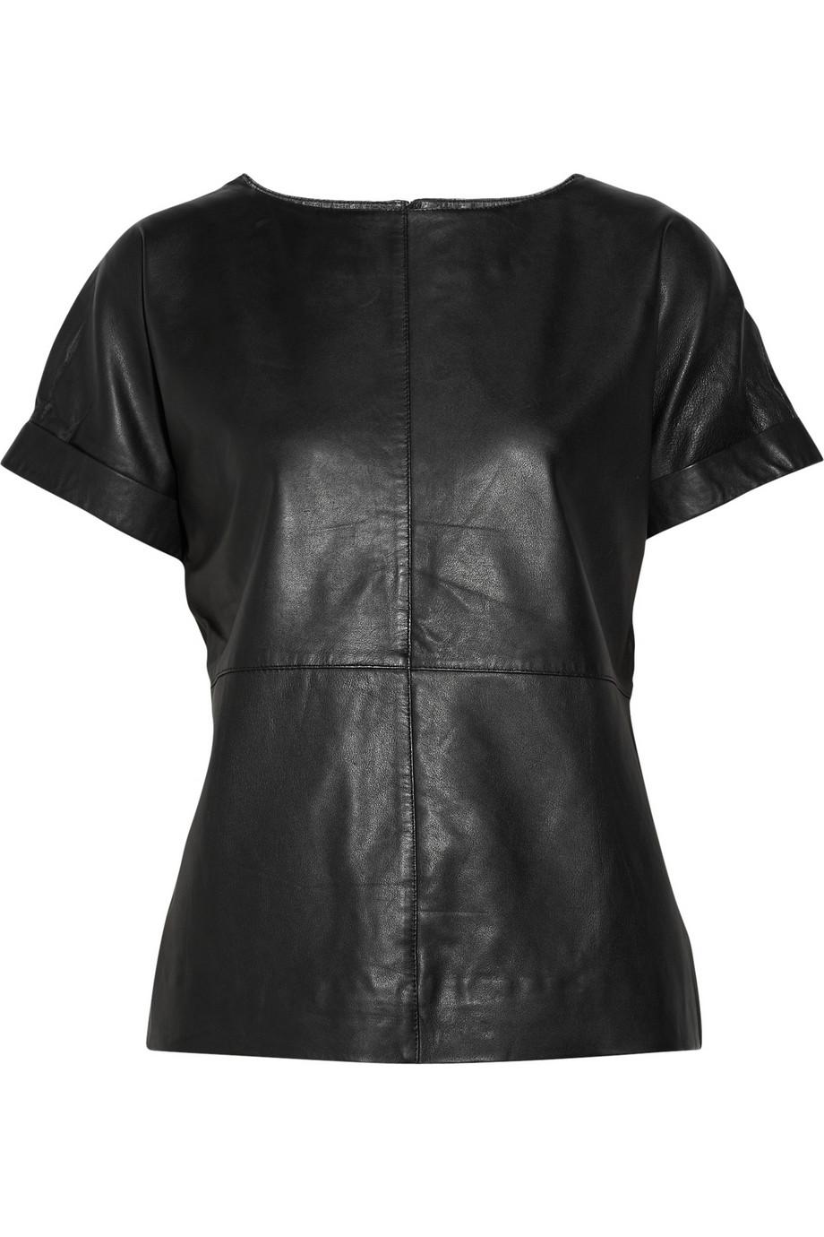 Sara Berman Zoe Leather Top in Black - Lyst