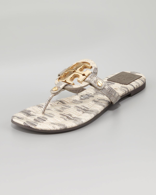 da9ad1195ebaf4 Lyst - Tory Burch Womens Miller2 Snakeprint Thong Sandal Natural in ...