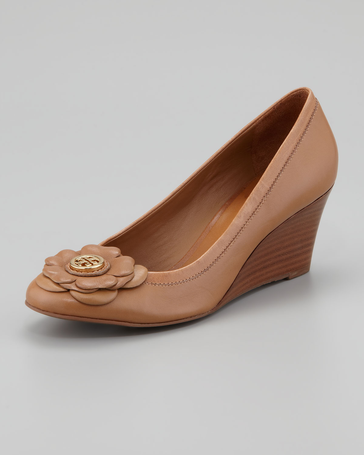 eab5f662c0a7fb Lyst - Tory Burch Shelby Floral Logo Wedge Sand in Brown
