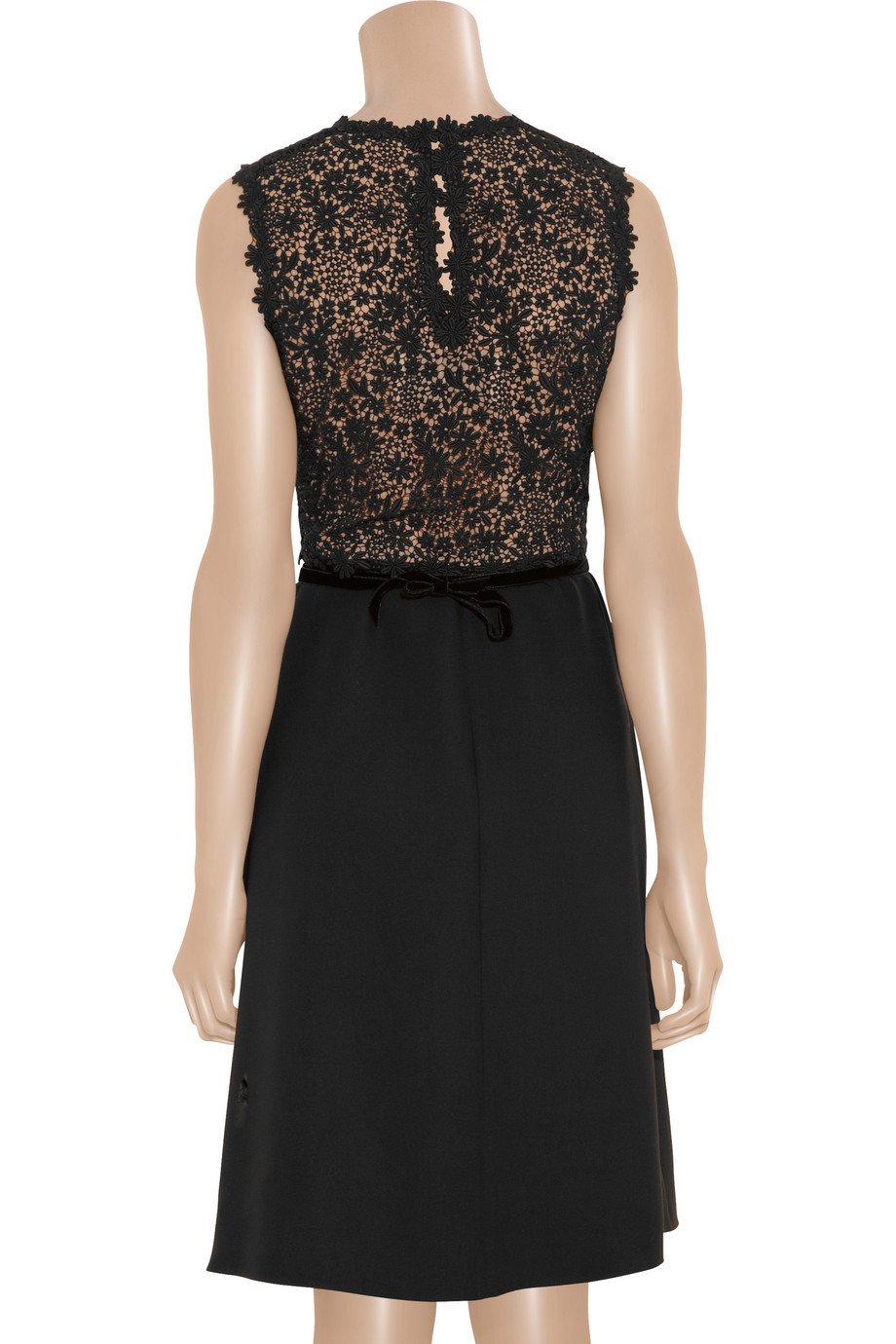 Valentino Silk Crepe And Lace Dress In Black Lyst