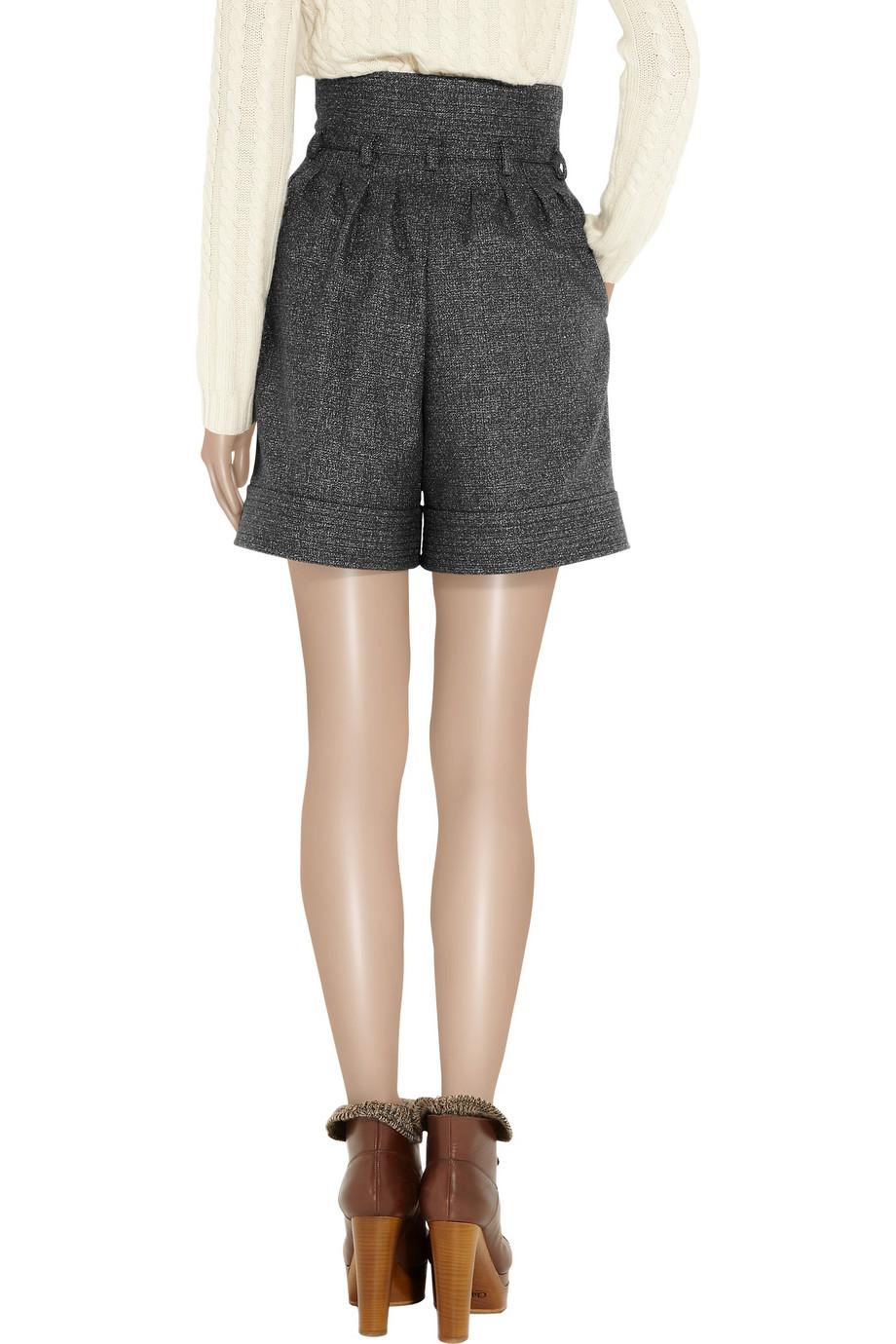 Saint Laurent Wool Blend Tweed Shorts In Gray Black Lyst