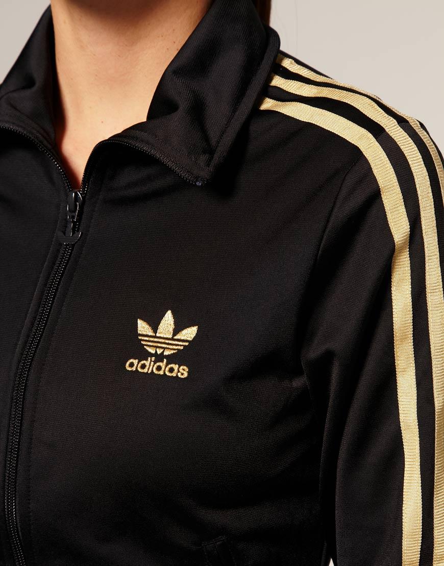 Adidas Black Gold Stripe Classic Track Jacket
