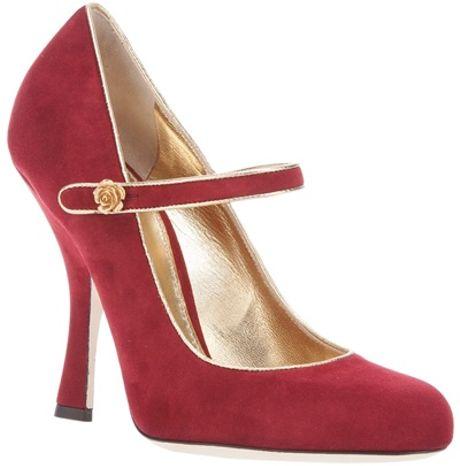 Dolce & Gabbana Midheel Buckle Pump in Red