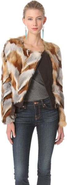 Kelly Wearstler Winston Genuine Fox Fur Jacket in Multicolor (brick)