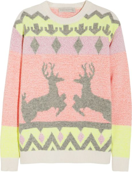 Stella Mccartney Reindeer Intarsia Woolblend Sweater in Multicolor (multicolored)