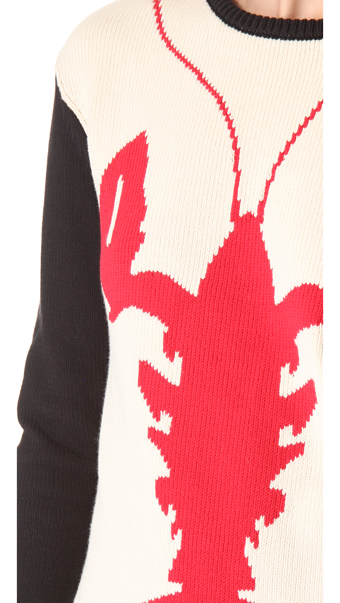 Lyst - Tibi Lobster Intarsia Cotton Sweater in Natural