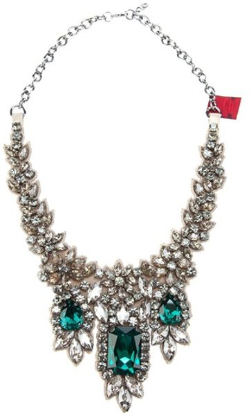 Valentino Crystal Embellished Necklace in Beige (nude)