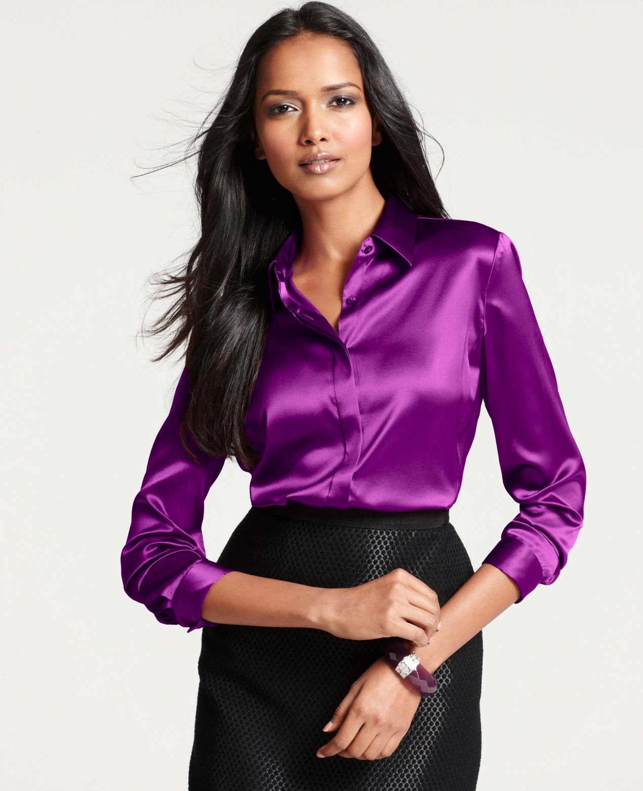 a90bd829d Ann Taylor Petite Silk Legacy Button Down Blouse in Purple - Lyst